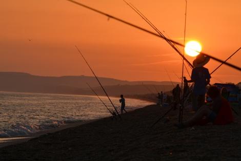 Fishing at Sunset in Abbotsbury