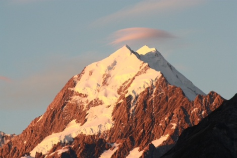 Mt Cook, S Island, New Zealand as the sun sets on an unusually clear day